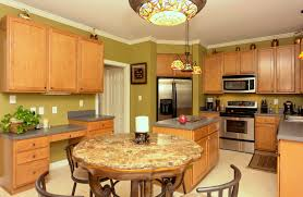 Kitchen Island And Table Oak Cabinets With Grey Countertops There U0027s No Place Like Home