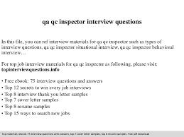 Qa Qc Inspector Resume Sample by Qa Qc Inspector Interview Questions