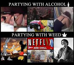 Party Memes - partying with alcohol vs partying with weed compare stoner memes