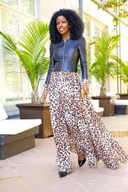 style pantry puff sleeve leather jacket leopard print maxi dress