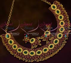 traditional design nl10859 ruby emerald casting design broad necklace traditional