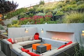 Backyard Slope Ideas Sloped Backyard Ideas Landscape Modern With Concrete Pavers