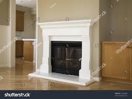Livingroom Fireplace New Construction Livingroom Hardwood Floors Fireplace Stock Photo