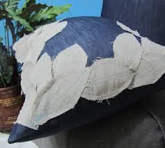 fast shipping handmade shabby linen leaves pattern denim pillow