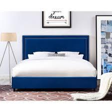 Velvet Bed Frame Reed Navy Velvet Bed Tov Furniture Modern Manhattan