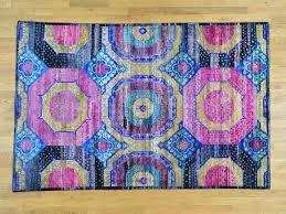 Sari Silk Rugs by 6 U0027x9 U0027 Hand Knotted Mamluk Design Sari Silk With Oxidized Wool Rug