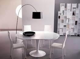 dining room expandable dining table set in white theme on grey