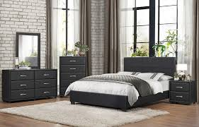 Modern Black Nightstand Modern Black Leather Bed