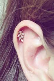 cartilage earrings 16g cz leaf flower ear piercing stud barbell cartilage by hiunni