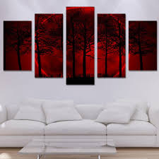 online shop home decor hd printed poster frame 5 pieces red moon