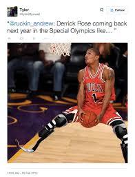 Derrick Rose Injury Meme - derrick rose latest injury cause the cold blooded internet slander