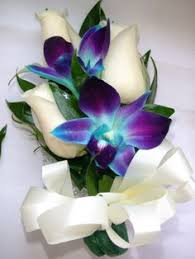 blue orchid corsage white orchid blue delphineum corsage blue and white orchid