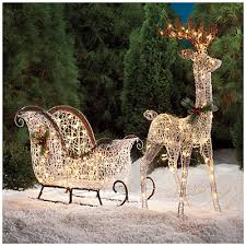 Christmas Outdoor Decorations Sleigh by White Vine Deer Sleigh Set 2 Piece At Big Lots Christmas