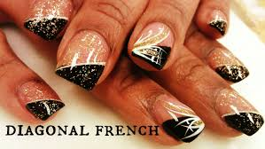 how to diagonal french manicure nails youtube