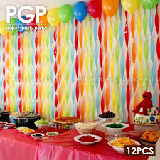 streamer backdrop pgp rainbow crepe paper streamers trolls kid birthday baby