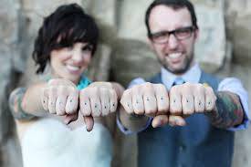 stay true wedding couple marriage tattoo finger tattoos