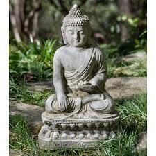cania international seated lotus buddha garden statue hayneedle