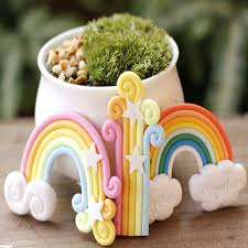 polymer clay home decor 3 styles diy fairy miniatures garden rainbow with clouds moss