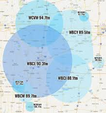 Adrian Michigan Map by Wbcl Coverage Map U0026 Frequencies