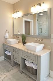 Transitional Vanity Lighting Master Bathroom With Vessel Sink Frameless Showerdoor In South