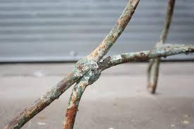 vintage wrought iron round green patio table omero home