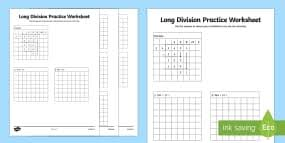 grid paper division practice activity sheet short division