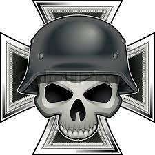 skull with german war 2 steel helmet iron cross medal
