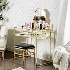 2 Piece Vanity Set Furniture Of America Rima Contemporary 2 Piece Glam Vanity Table