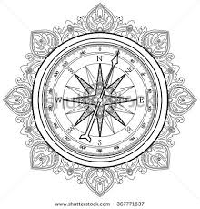whale compass tshirt design antique stock vector 700783975