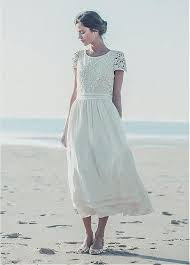 design a wedding dress lace chiffon tea length wedding dress in a line design