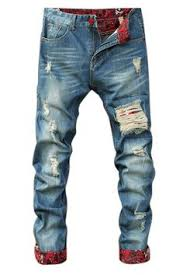 Ripped Denim Jeans For Men 27 13 Scratched Frayed Zipper Fly Ripped Jeans Men U0027s Pants