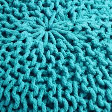 furniture cable knit pouf in blue colors by knit pouf ottoman