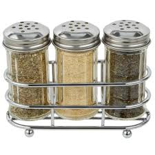 tablecraft 659n 2 oz fluted glass condiment shaker and rack