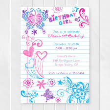 girl birthday notebook doodles tween birthday invitation girl birthday
