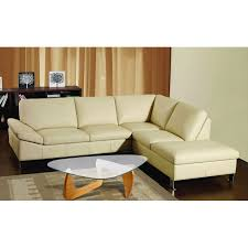 ivory leather sectional sofa with short chaise lounge using chrome