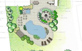 backyard landscaping plans curvilinear backyard landscape plan with sunken fire pit area