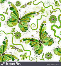 abstract pattern butterfly white green floral pattern with butterflies