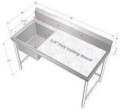stainless steel cutting board table customized stainless steel sink poly top cutting table