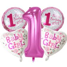 birthday balloons 5 pieces baby 1st birthday balloons set pink blue number foil