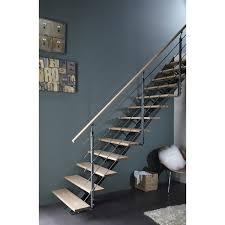 escalier peint en gris escalier droit mona structure aluminium marche bois leroy merlin