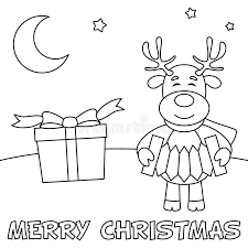 coloring christmas card with reindeer stock vector image 61958587