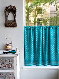 Sari Curtain Turquoise Blue Kitchen Curtains Blue And Gold Tier Curtain Panels