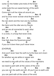 colors of the wind page 2 guitar chords pinterest the wind