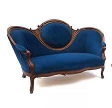 Loveseat Settee Upholstered Blue Victorian Antique Sofas U0026 Chaises Ebay