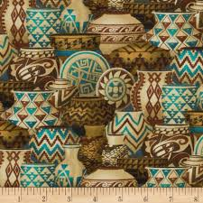 Home Decor Turquoise And Brown Mesa Verde Pots In Turquoise Discount Designer Fabric Fabric Com