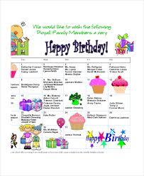 Free Birthday Calendar Template Excel Birthday Calendar 7 Free Word Pdf Psd Documents