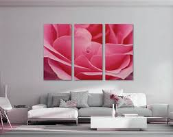 Rose Petals Room Decoration Colorful Brick Wall Art World Map Canvas Print 3 Panel Split