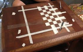 How To Make A Wood Table Top How To Make A Custom Chess Board From An Old Wooden Table For