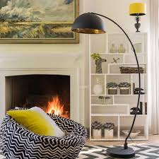 lighting family room decoration with arc floor lamp and