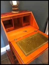 Small Bureau Desk by Reproduction Yew Wood Veneered Small Bureau Desk In Chertsey